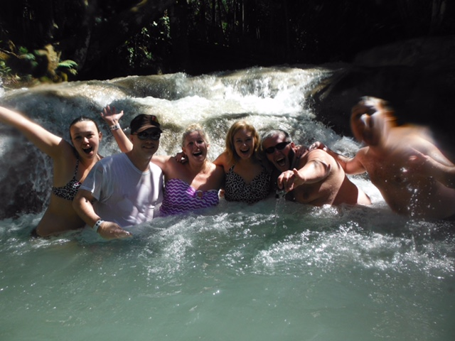 The gang from WJRZ on location in Jamaica